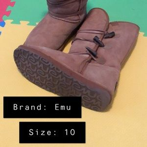 Emu shearling-lined boots, size 10
